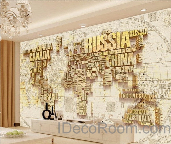 Abstract world map nation 3d wallpaper wall decals wall for Digital print wallpaper mural