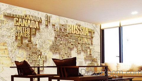 Abstract World Map Nation 3D Wallpaper Wall Decals Wall Art Print Mural Home Decor Indoor Office Business Deco