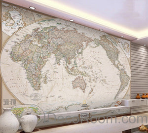 Classic HD World Map 3D Wallpaper Wall Decals Wall Art Print Mural Home Decor Indoor Office Business Deco