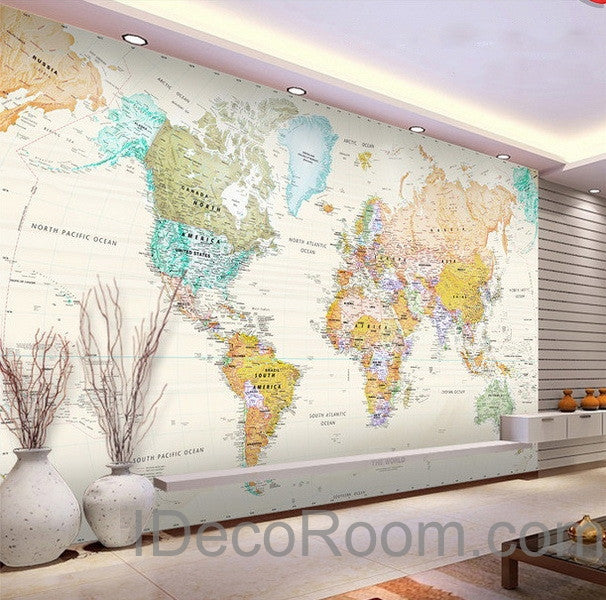 Colorful hd world map wallpaper wall decals wall art print for Wallpaper design for office wall