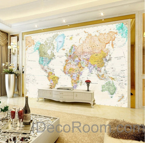 Image of Colorful World Map Wallpaper Wall Decals Wall Art Print Mural Home Decor Office Business Indoor Deco