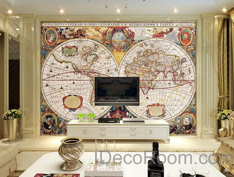 Vintage hd world map wallpaper wall decals wall art print for Classic mural wallpaper