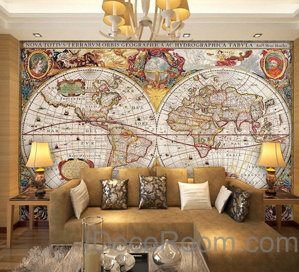 Vintage World Map Wall Art Decor