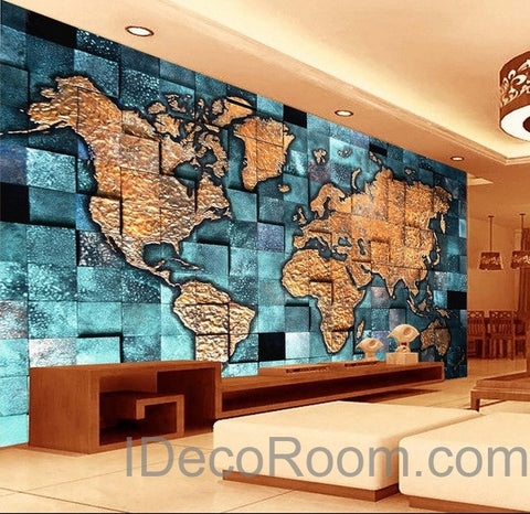 3D Blue Ocean Abstract World Map Wallpaper Wall Decals Wall Art Print Mural  Home Decor Indoor