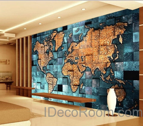 Image of 3D Blue Ocean Abstract World Map Wallpaper Wall Decals Wall Art Print Mural Home Decor Indoor Office Business Deco