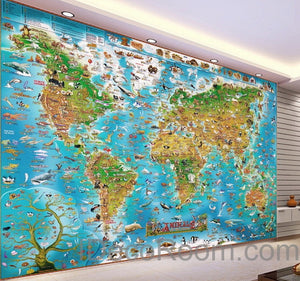 3D Animals Abstract World Map Wallpaper Wall Decals Wall Art Print Mural Home Decor Kids Nursery Office Business Childcare Deco Public School