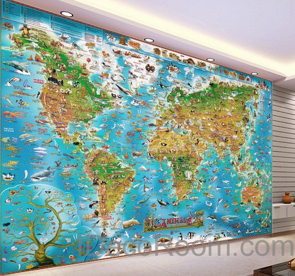 3d Animals Abstract World Map Wallpaper Wall Decals Wall