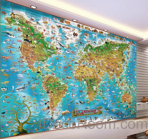 3D Animals Abstract World Map Wallpaper Wall Decals Wall Art Print Mural  Home Decor Kids Nursery