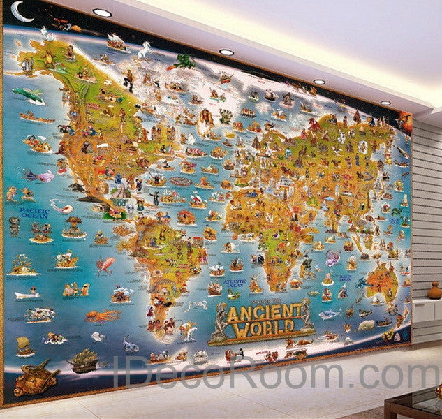 3D Ancient Animals Catoon World Map Wallpaper Wall Decals Wall Art Print Mural Home Decor Kids & 3D Ancient Animals Catoon World Map Wallpaper Wall Decals Wall Art ...
