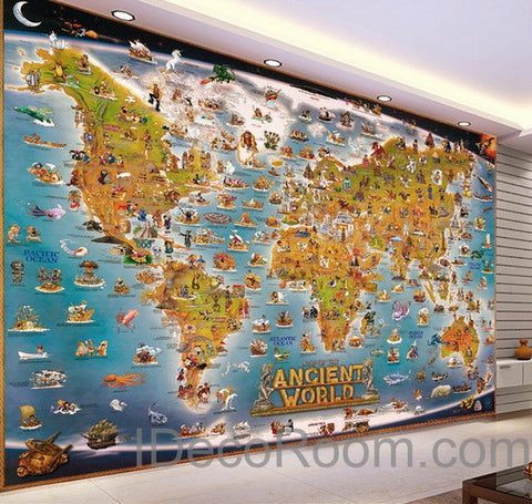 Image of 3D Ancient Animals Catoon World Map Wallpaper Wall Decals Wall Art Print Mural Home Decor Kids Nursery Office Business Childcare Deco Public School
