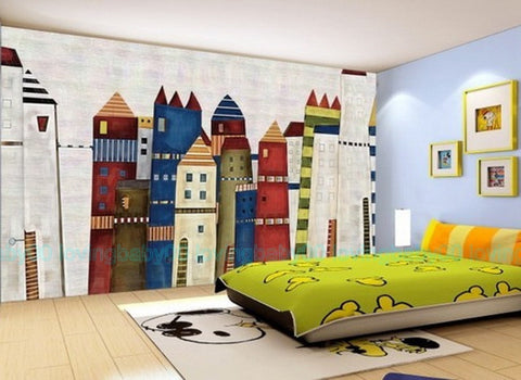 Image of 3D Fairytale Castle Town Wallpaper Wall Decals Wall Art Print Mural Home Kids Girl Nursery Decor Childcare Deco