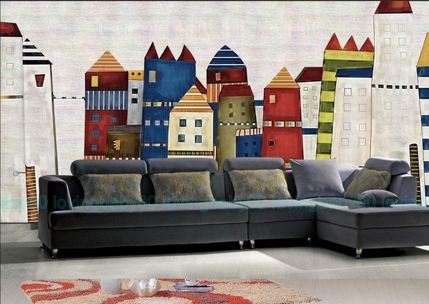 3d fairytale castle town wallpaper wall decals wall art for Castle mural kids room