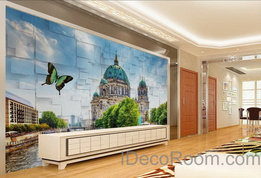office deco. 3D Wall Paper Butterfly Castle Wallpaper Decals Art Print Mural Home Decor Indoor Bussiness Office Deco