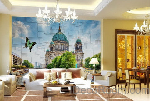 Image of 3D Wall paper Butterfly Castle Wallpaper Wall Decals Wall Art Print Mural Home Decor Indoor Bussiness Office Deco