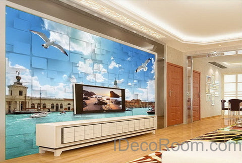 Image of 3D Seagull River Venezsia View Wallpaper Wall Decals Wall Art Print Mural Home Decor Indoor Bussiness Office Deco