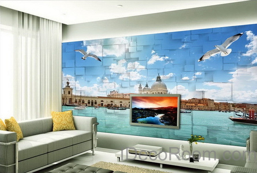 3D Seagull River Venezsia View Wallpaper Wall Decals Wall Art Print Mural  Home Decor Indoor Bussiness