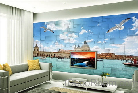 3D Seagull River Venezsia View Wallpaper Wall Decals Wall Art Print Mural Home Decor Indoor Bussiness Office Deco