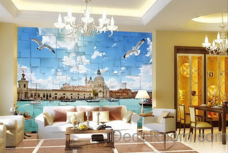 3D Seagull River Venezsia View Wallpaper Wall Decals Wall