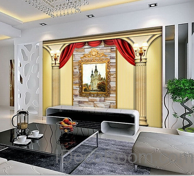 3d castle painting roman pillars wall paper wallpaper wall decals wall idecoroom. Black Bedroom Furniture Sets. Home Design Ideas