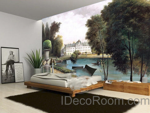 3D Vintage Castle Painting Lake Wall paper Wallpaper Wall Decals Wall Art Print Mural Home Decor Indoor Bussiness Office Deco