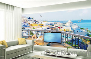3D Balcony Ocean Veiw Wall paper Wallpaper Wall Decals Wall Art Print Mural Home Decor Indoor Bussiness Office Deco
