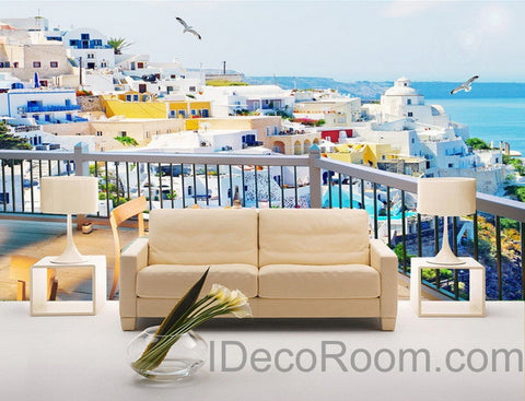 Image of 3D Balcony Ocean Veiw Wall paper Wallpaper Wall Decals Wall Art Print Mural Home Decor Indoor Bussiness Office Deco