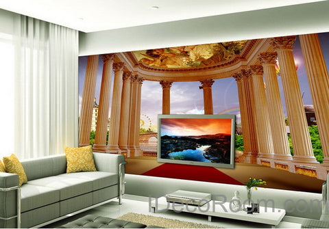 Image of 3D Pillar Red Carpet Bridge Veiw Wall paper Wallpaper Wall Decals Wall Art Print Mural Home Decor Indoor Bussiness Office Deco