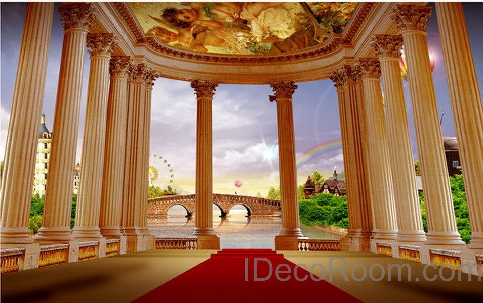 3D Pillar Red Carpet Bridge Veiw Wall paper Wallpaper Wall Decals Wall Art Print Mural Home Decor Indoor Bussiness Office Deco