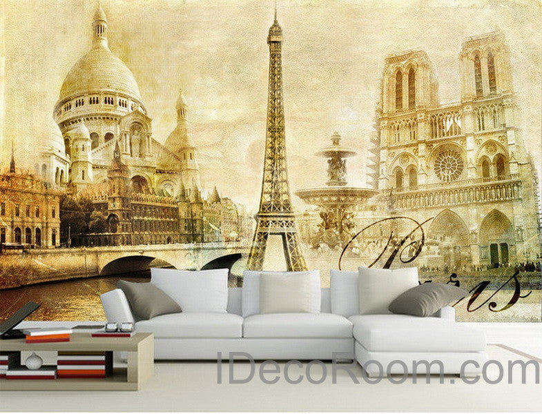 3d retro paris tower wall paper wallpaper wall decals wall art print m idecoroom. Black Bedroom Furniture Sets. Home Design Ideas