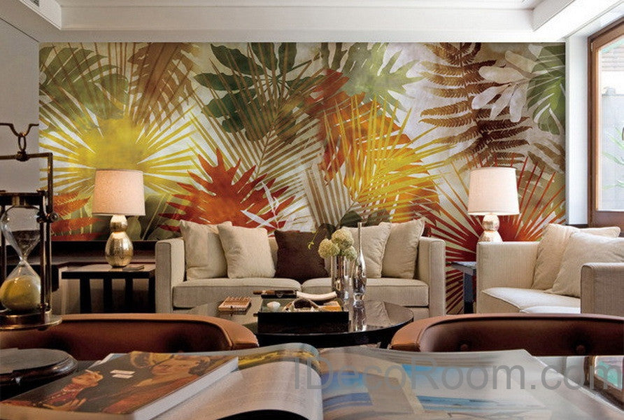 Colorful Tropical Leaves Wall Paper Wall Print Decals Home