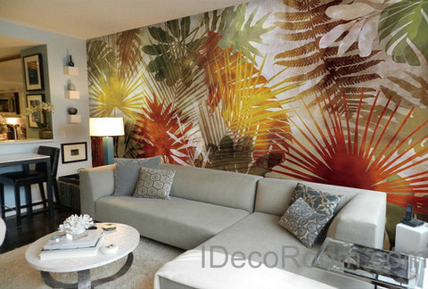 Image of Colorful Tropical Leaves Wall Paper Wall Print Decals Home Decor Indoor Wall Mural wallpaper