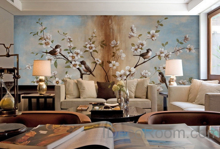 Peach Blossom Birds Tree Wall Paper Wall Print Decals Home Decor Indoor Wall  Mural Wallpaper Part 90