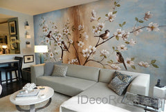 Peach Blossom Birds Tree Wall Paper Wall Print Decals Home Decor Indoor Wall Mural wallpaper