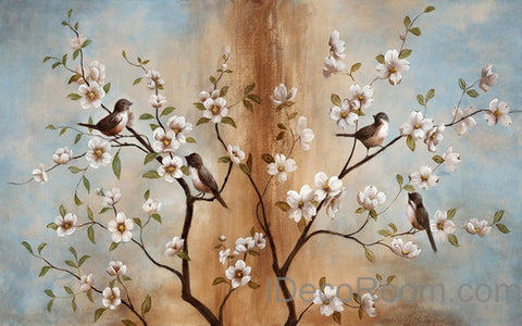 Image of Peach Blossom Birds Tree Wall Paper Wall Print Decals Home Decor Indoor Wall Mural wallpaper