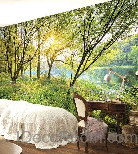 3D Riverside Trees Sunrise Wall paper Wallpaper Wall Decals Wall Art Print Mural Home Decor Indoor Bussiness Office Deco