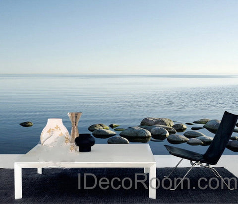 Image of 3D Lake Rocks Wall paper Wallpaper Wall Decals Wall Art Print Mural Home Decor Indoor Bussiness Office Deco