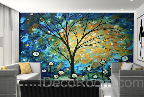 Image of 3D Starry Trees Lolliepop Flower Wall Mural Wallpaper Wall Decals Wall Art Print Home Decor Indoor Bussiness Office Wall Paper