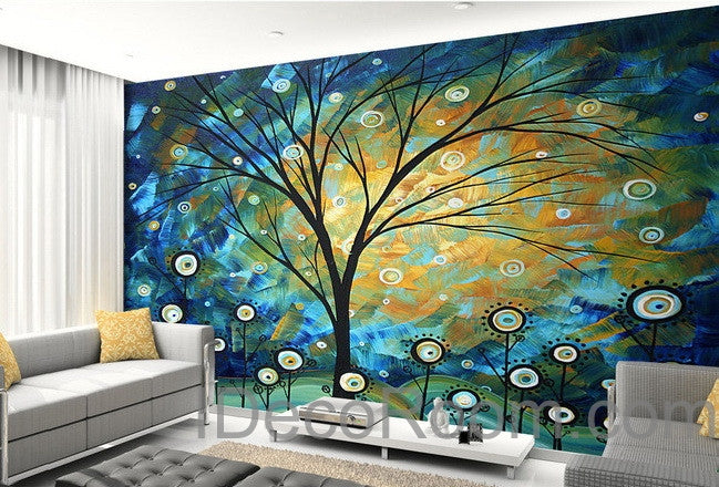 3d Starry Trees Lolliepop Flower Wall Mural Wallpaper Wall