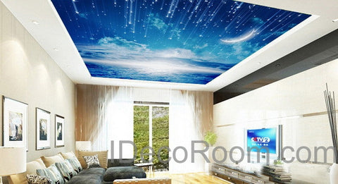 3D Moonlight Clouds Starry Night Ceiling Wall Mural Wall paper Decal Wall Art Print Deco Kids wallpaper