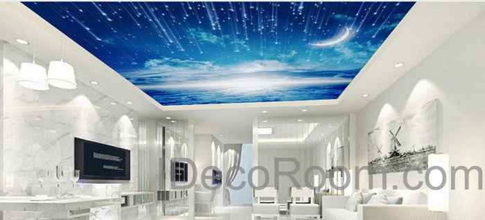 3d moonlight clouds starry night ceiling wall mural wall for 3d ceiling paper