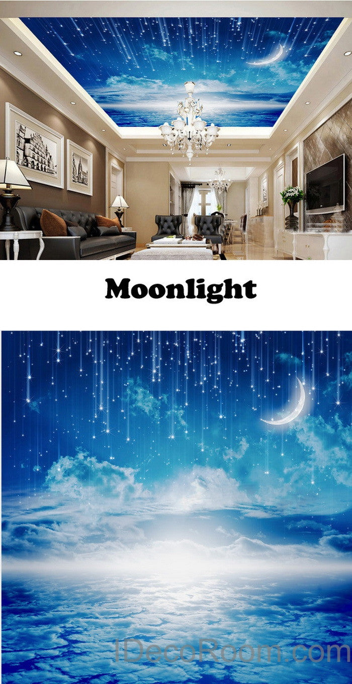 Nice 3D Moonlight Clouds Starry Night Ceiling Wall Mural Wall Paper Decal Wall  Art Print Deco Kids Part 27