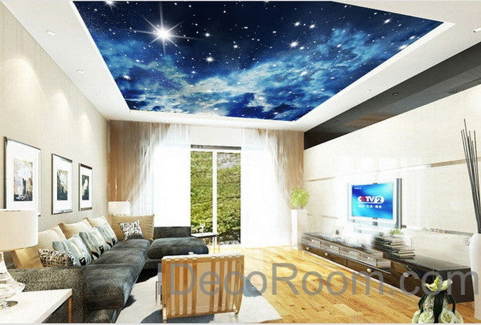 3d starry night galexy ceiling wall mural wall paper decal for Ceiling mural wallpaper