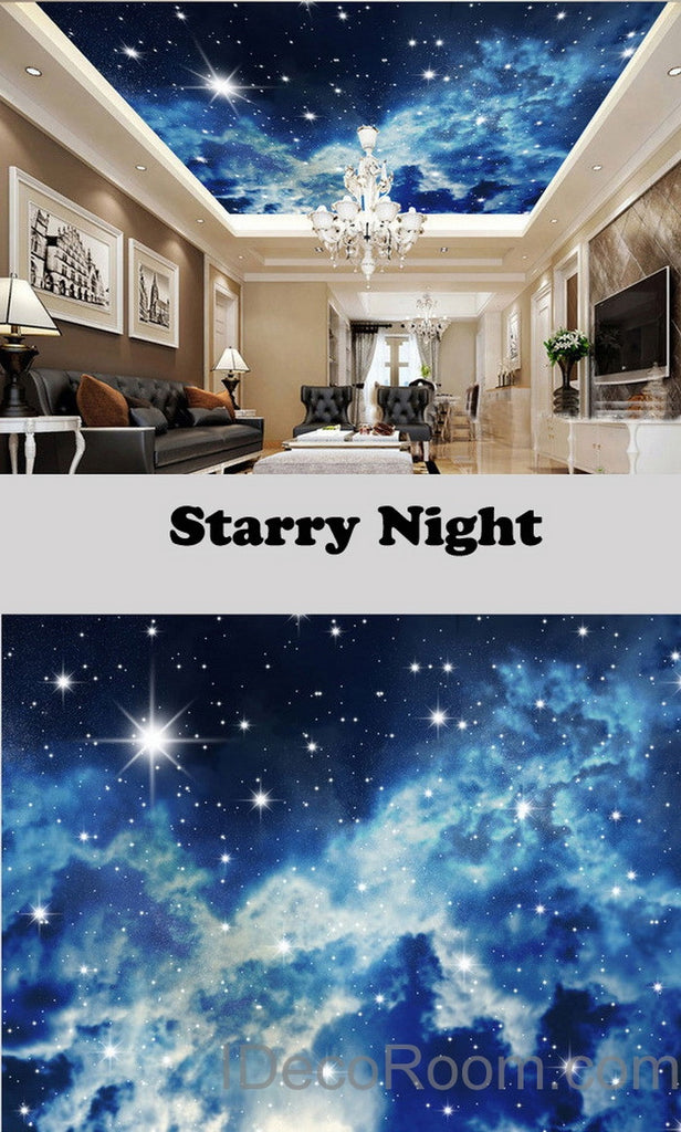 3D Starry Night Galexy Ceiling Wall Mural Wall paper Decal Wall Art Print Deco Kids wallpaper