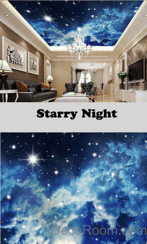 Image of 3D Starry Night Galexy Ceiling Wall Mural Wall paper Decal Wall Art Print Deco Kids wallpaper