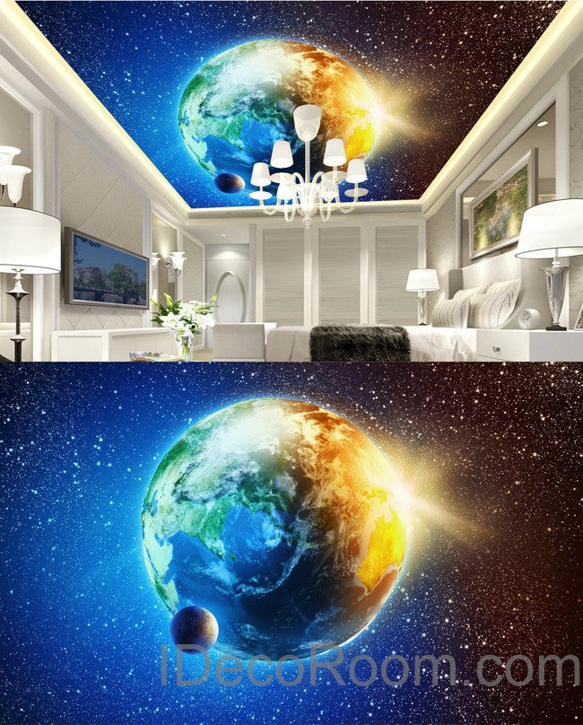 3d earth star moon sun universe ceiling wall mural wall for Earth rising wall mural