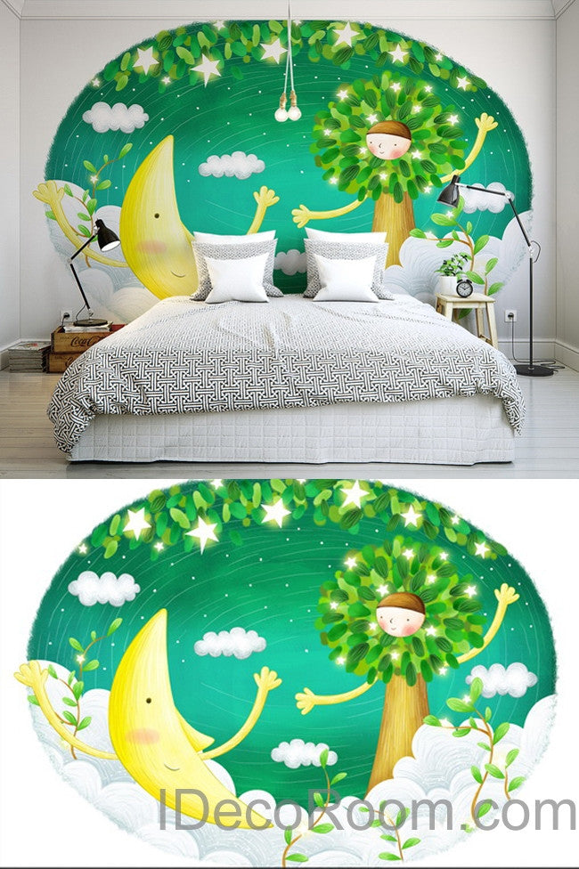 3D Star Moon Tree Cartoon Wall Mural Wall paper Wall Decals Wall Art Print Deco Kids wallpaper