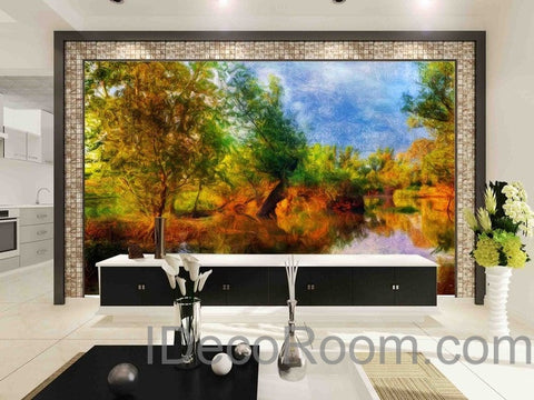 Image of Autumn Riverside Tree Wall Mural Wall paper Wall Decals Wall Art Print Home Decor Business Wallpaper
