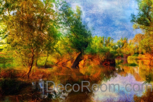 Autumn Riverside Tree Wall Mural Wall paper Wall Decals Wall Art Print Home Decor Business Wallpaper
