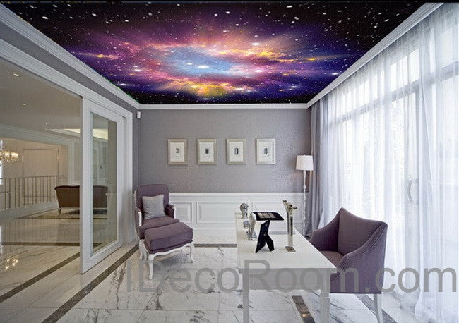 3d infinity galaxy colorful nebula ceiling wall mural wall paper decal idecoroom. Black Bedroom Furniture Sets. Home Design Ideas
