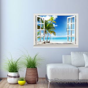 Sunshine Coast Palm Tree Cloud 3D Window View Removable Wall Decals Stickers Home Decor Arts Wall Mural
